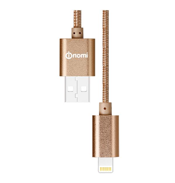 128667-Кабель-Nomi-DCM-10i-USB-Lightning-1м-золотий