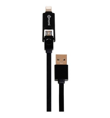 Кабель-Nomi-DCТ-10mi-USB-micro&Lightning-1м-чорний